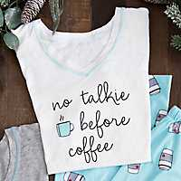 No Talkie Before Coffee Popstitch T-Shirt, XL