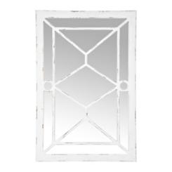White Wood Paned Wall Mirror