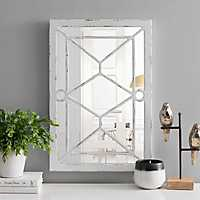 White Wood Paned Wall Mirror