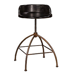 Black Wood Seat with Metal Base Adjustable Stool