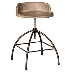 Tan Wood Seat with Metal Base Adjustable Stool