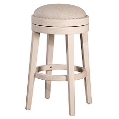 Swivel Weathered White Fabric Seat Counter Stool
