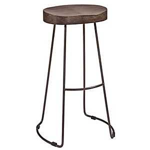 Hudson Wood Seat with Metal Base Bar Stool