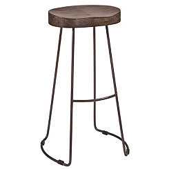 Hudson Wood Seat with Metal Base Bar Stool
