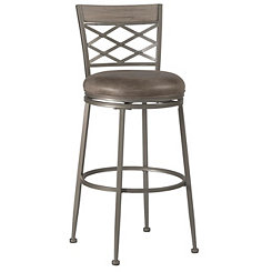 Hanover Swivel Pewter Garden Lattice Bar Stool