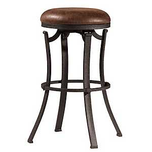 Kelvin Swivel Cocoa Fabric Seat Bar Stool