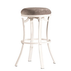Kelvin Swivel Fabric Seat White Counter Stool