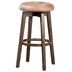 Odelle Rustic Gray Tufted Seat Bar Stool
