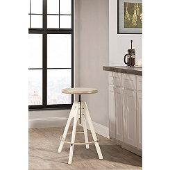 Swivel Taupe Seat with White Base Adjustable Stool