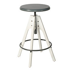 Swivel Blue Seat with White Base Adjustable Stool