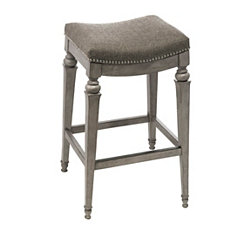 Vivian Fabric Seat Weathered Gray Counter Stool