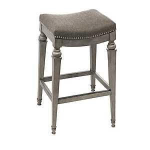 Vivian Fabric Seat Weathered Gray Bar Stool