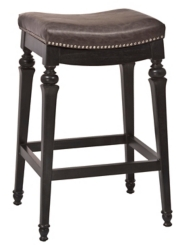 Charcoal Faux Leather Vinyl Seat Bar Stool