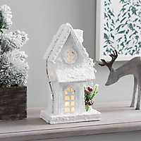 Lit Wooden Winter Christmas House Statue