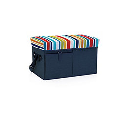 Navy with Multi Color Stripes Cooler Ottoman