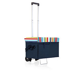 Navy Striped Cooler Ottoman with Trolley