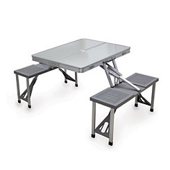Portable Picnic Table with Silver Aluminum Seats