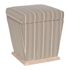 Gray Stripe Storage Ottoman