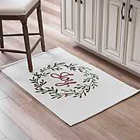Red and Green Joy Wreath Accent Rug