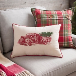 Red Vintage Truck and Tree Christmas Accent Pillow