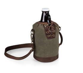 Khaki Insulated Tote and Growler, 64 oz.