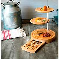 3-Tier Serving Tray with Cheese Tools