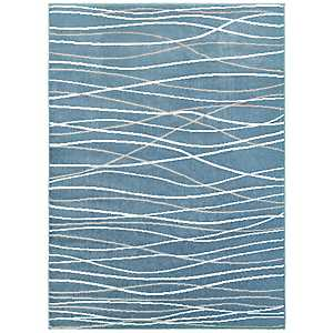 Blue Abstract Stripe Area Rug, 8x10