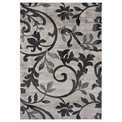 Gray and Black Floral Area Rug, 5x7