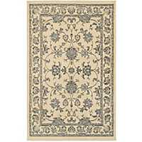 Cream and Blue Damask Area Rug, 8x10