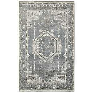 Gray Medallion Area Rug, 8x10