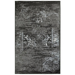 Black Distressed Traditional Area Rug, 5x7