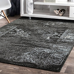 Black Distressed Traditional Area Rug, 8x10