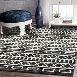 Gray and Black Geometric Matrix Area Rug, 8x10