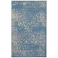 Distressed Blue Floral Area Rug, 8x10