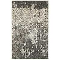 Distressed Silver Damask Area Rug, 8x10