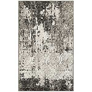 Distressed Gray Damask Area Rug, 8x10
