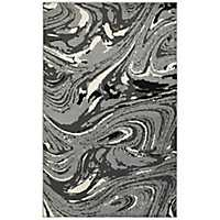 Gray Abstract Marble Area Rug, 8x10