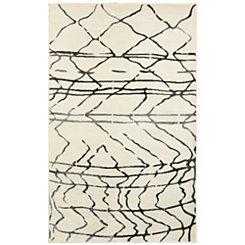 Cream Abstract Sketch Area Rug, 5x7