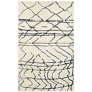 Cream Abstract Sketch Area Rug, 8x10
