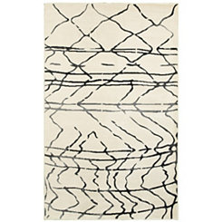 Cream Abstract Sketch Area Rug, 8x10