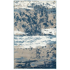 Blue and Cream Abstract Area Rug, 8x10