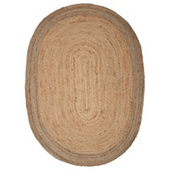 Natural Jute Oval Area Rug, 5x7