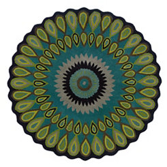 Green Floral Vibrance Round Area Rug, 5x5