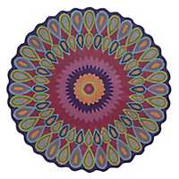 Purple Floral Vibrance Round Area Rug, 5x5