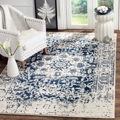 Navy and Cream Madison Distressed Area Rug, 8x10