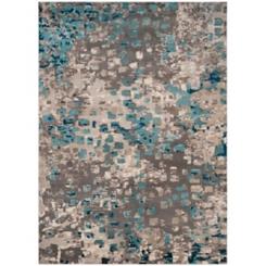 Blue and Gray Monaco Boho Dot Area Rug, 8x11