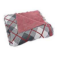 Charcoal and Red Plaid Sweater Throw