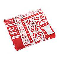 Red and White Snowflake Sweater Throw