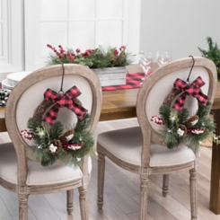 Berry and Pine with Plaid Bow Wreaths, Set of 2