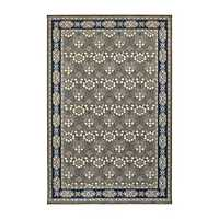 Navy and Gray Richland Oriental Area Rug, 5x8